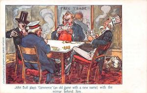 John Bull plays Commerce game, mirror, Free Trade, Political Satire Caricature