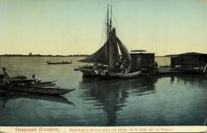 ecuador, GUAYAQUIL, Sloops and Canoes at the Guayas Riverside (1910s)