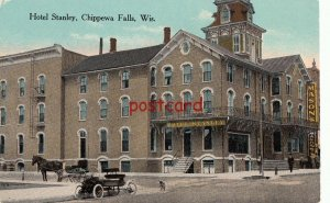 CHIPPEWA FALLS WI Hotel Stanley, horse carriage, dog, Mason's, publ Kropp