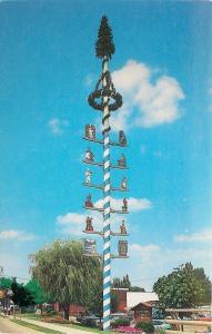 Frankenmuth Michigan~Maypole~The Malbaum~Handcarved Crests~1977 Postcard