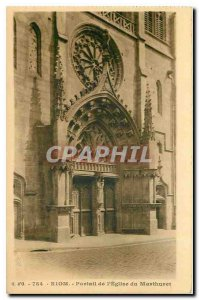 Old Postcard Riom Portal of the Church of Marthuret