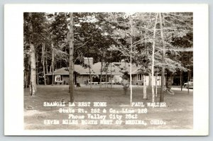 Medina-Valley City Ohio~Shangri La Rest Home~Split Tree Trunk~1956 RPPC Postcard