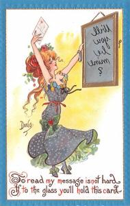 Artist Signed Dwig Dwiggins Mirror Girl Series no. 30 Unused light wear right...