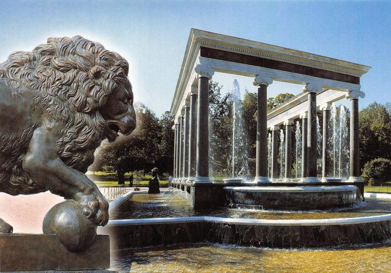 St Petersburg Postcard Peterhof, The Great Palace, The Lion Cascade X96