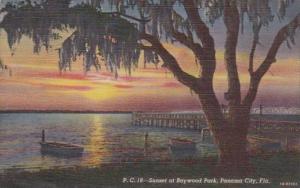 Florida Panama City Sunset At Baywood Park 1942 Curteich