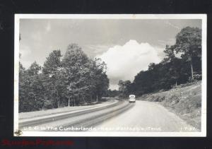 RPPC MONTEAGLE TENNESSEE CUMBERLAND MOUNTAINS ROAD BUS REAL PHOTO POSTCARD