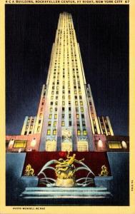 New York City Rockefeller Center R C A Building At Night