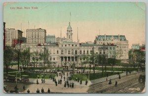 New York~City Hall~Vintage Postcard