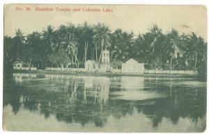 Sri Lanka, Buddhist Temple and Colombo Lake, early 1900s used Postcard