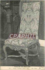 Old Postcard Musee des Arts Decoratifs Siege Louis XIV period