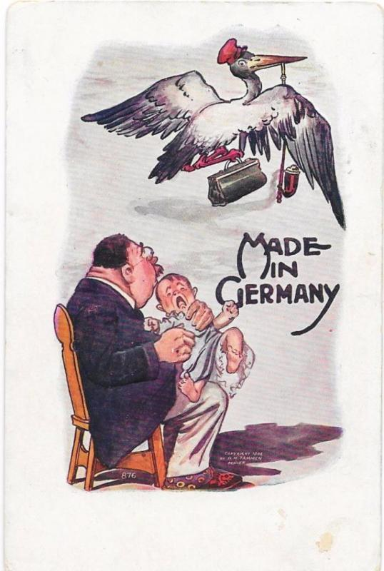Stork Leaving a Baby - Made in Germany -  Vintage 1907 Postcard - Undivided Back