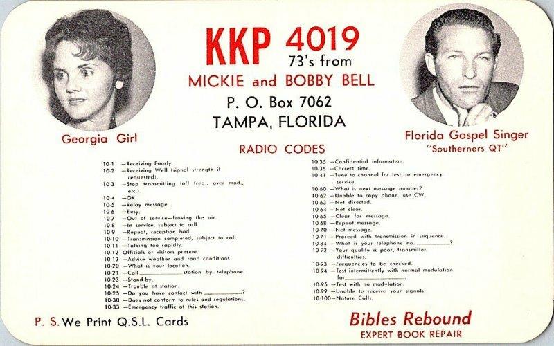 QSL Radio Card From Tampa Florida KKP 4019