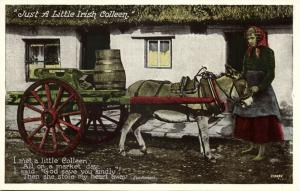 ireland, Just a little Irish Colleen, Donkey Cart (1950s)