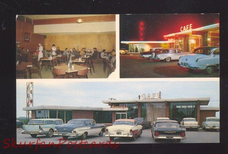 EL RENO OKLAHOMA ROUTE 66 HENSLEY'S RESTAURANT OLD CARS AT NIGHT OLD POSTCARD