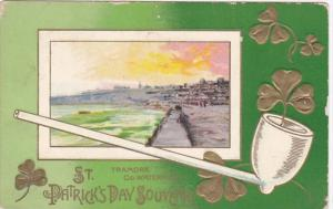Saint Patrick's Day Pipe Gold Shamrocks & Tramore County Waterford