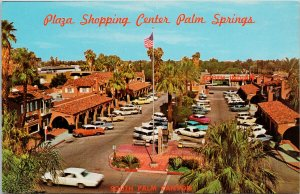 Palm Springs CA Plaza Shopping Center Old Cars Unused Vintage Postcard F65