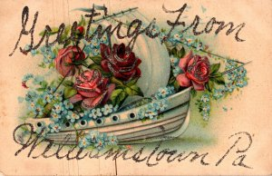 Pennsylvania Greetings From Williamstown With Boat Full Of Roses