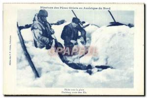 Postcard Old Mission Des Peres Oblates In America Northern Ice Fishing In The...