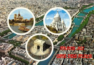 France Paris Notre Dame et la Seine Sacre Coeur Arc de Triomphe Postcard