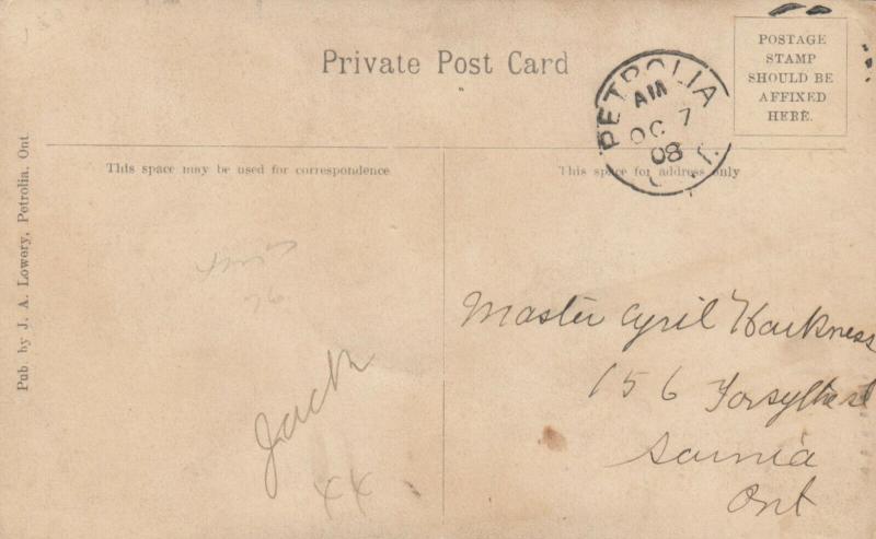 PETROLIA , Ontario , 1908 ; Burning Agitator