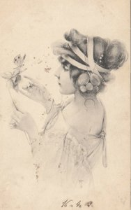 M.M.VIENNE : Woman, Art Nouveau Headdress Portrait #6 , 1902