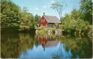 Old Red Mill on pond, New Hampshire, Monadnock Region postcard