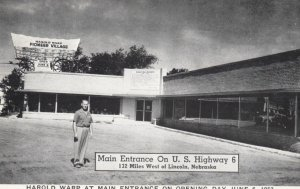LINCOLN, Nebraska, 1953; Harold Warp at Main Entrance of Harold Warp Pionner ...