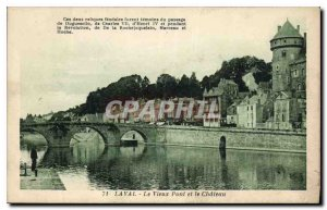 Old Postcard Laval Old Bridge and the Castle