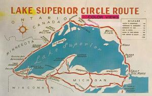 Lake Superior Circle Route Vintage Map Wisconsin Postcard