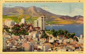 CA - San Francisco. Russian Hill Skyline, Mt Tamalpais