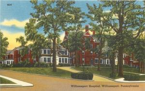 Williamsport Pennsylvania~Williamsport Hospital~Red Brick~In Trees~1940s Linen