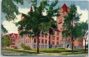 Detroit, Michigan Postcard CENTRAL HIGH SCHOOL Street View c1920s Unused