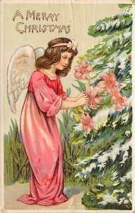 Merry Christmas Angel Angles 1914 card is dried out