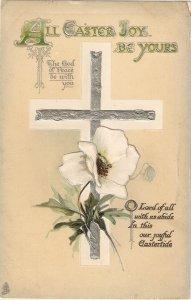 Silver Cross. Iris Flower. Messsage Tuck Easter Series PC #  3790