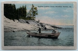 Postcard ME Boothbay Harbor Hauling Lobster Traps 1918 View T16