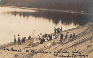 Corn roast on the shore of the lower Lake Beach Scenes Writing on Back