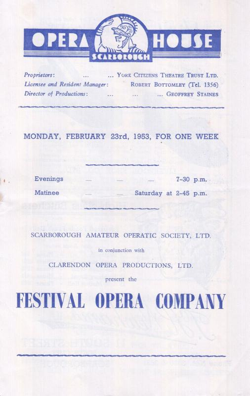 Don Pasquale Scarborough Opera Festival 1950s Yorkshire Old Theatre Programme