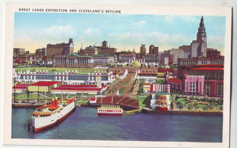 P434 JL linen postcard great lakes expo cleveland,s skyline ohio