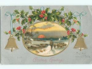Divided-Back CHRISTMAS SCENE Great Postcard W9149