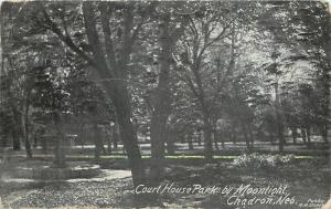 Chadron Nebraska~Court House Park by Moonlight~Fountain~1910 B&W