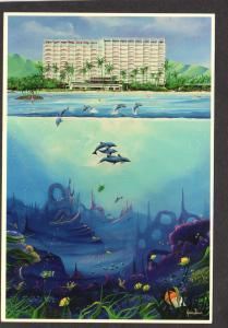 HI Kahala Hilton Hotel Honolulu Hawaii Postcard Dolpjin Jason Denaro