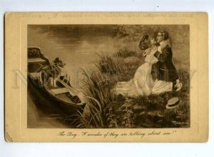 245308 Kiss of Lovers COLLIE Dog in Boat by TURNER Vintage PC