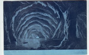 P1342 old postcard unused water cave with boat peopl- capri grotta azzurra italy