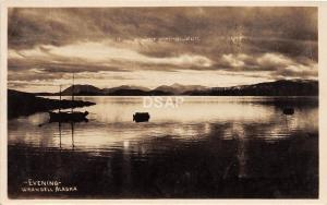 A47/ Wrangall Alaska AK Real Photo RPPC Postcard c1920 Evening Boats Mountains 1
