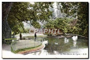 Old Postcard Vichy Swan Pond Park
