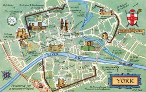 Map Postcard of YORK showing the Coat of Arms Minster River Ouse City Walls AH6