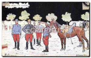 Old Postcard Fantasy Horse Army General Inspection