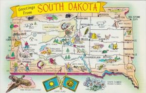 Greetings From South Dakota With Map