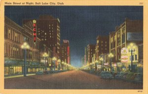Postcard Main Street at Night Salt Lake City Utah