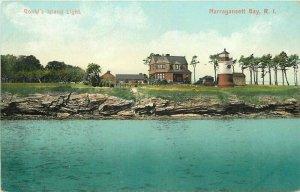 c1910 Narragansett Bay Rhode Island News Goulds Island Lighthouse Postcard
